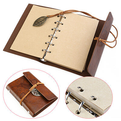 PU Cover Loose-leaf String Bound Blank Notebook Notepad Travel Journal Diary