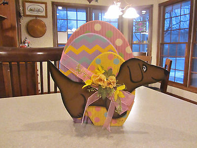 4 dimension EASTER Eggs & Flowers & Red/Brown Dachshund Easter Standing Decor