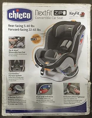 Chicco NextFit Zip Convertible Child Safety Easy Install Car Seat Notte New