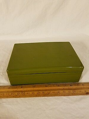 Vintage Japanese Wood Lacquer 1960's Green Lacquered Trinket Box Very Cool Piece