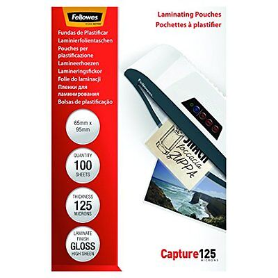 Fellowes Capture 65x95mm 125 Micron Glossy Laminating Pouches  Pack of 100