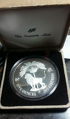 RARE 1986 RETURN Of HALLEY'S COMET 5 oz 999 SILVER PROOF SINGAPORE MINT