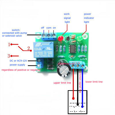 12V Water Level Switch Sensor Controller Water Tank Tower Automatic Drainage