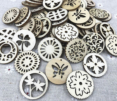 Wooden Pendant Mixed Hollow Wood color scrapbooking decoration Crafts