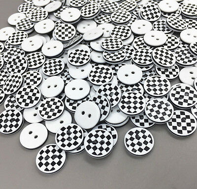 DIY 100X Black and white checkered Round Resin buttons Sewing Scrapbooking 13mm