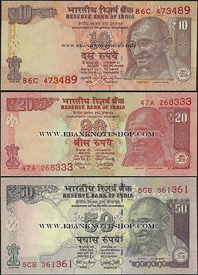 India,3 NOTE SET ,PNew,10/20/50 Rupees ,2016 @ EBS