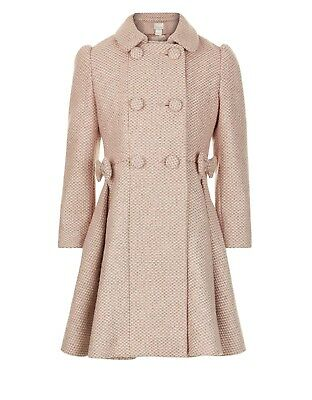 Girls Monsoon Pink Tweed Rosebella Bow Flare Dress Wool Jacket Coat 3 - 13 New