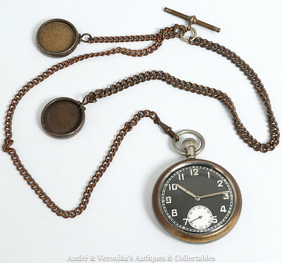 WWII GS/TP Pocket Watch & Chain (Working) World War 2 Timepiece Lucky Charm Coin