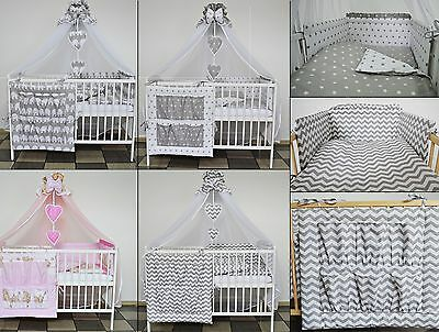 BABY BEDDING SET COT COTBED 3 6 9 Pieces PILLOW DUVET COVER BUMPER LUXURY CANOPY