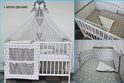 Grey White Stars Baby Bedding Set Cot Cotbed 5 7 9 Pieces Inc Luxury Canopy