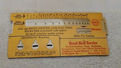 Vintage shell/firestone Slide Rule Paper Calculator Advertising MPG  Gallons