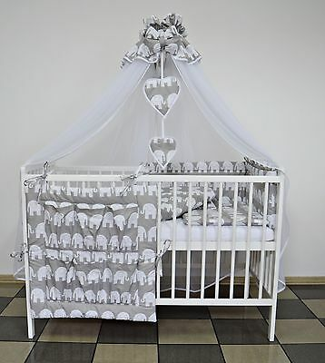 GREY ELEPHANT BABY BEDDING SET COT or COT BED 5 7 9 Pcs INC LUXURY CANOPY+ MORE