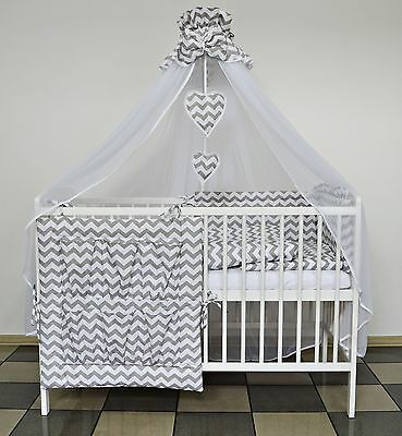 Grey Chevron Baby Bedding Set Cot Cotbed 5 7 9 Pieces Inc Luxury Canopy+ More
