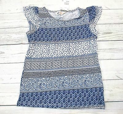 H&m Girls Size 8-10 Yrs Short Sleeve Boho Blue Top New With Tags