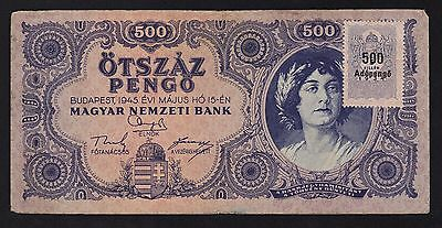 Hungary 500 Pengo 1945 P-117 Fine with tax stamp
