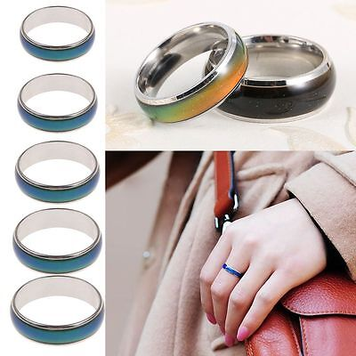 Fashion Jewelry Stainless Steel Temperature Colour Changing Mood Ring UK SELLER