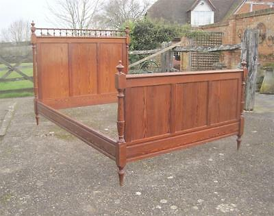 Stylish Antique French Pitch Pine Double Bed, Very Attractive Piece