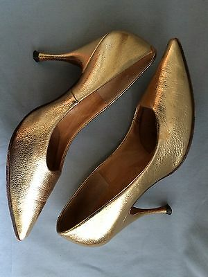 VINTAGE 50's 60's MARQUISE Gold Leather Heels, Size 5.5 or 6 (?)