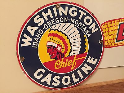 Washington Indian Porcelain Gas Pump Sign, A Vintage Oil Gasoline Company Lube