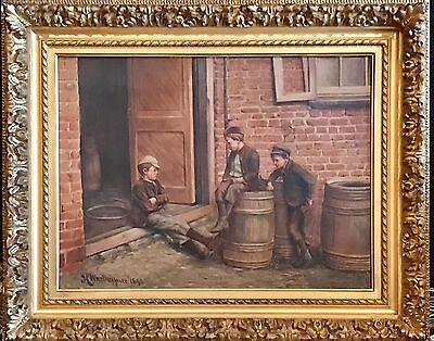 Continental School Painting Oil/Canvas, Three Boys Signed HWestheimer Dated 1843