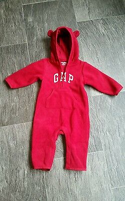 EUC Baby Gap Red Fleece Hooded Sweater Jumpsuit Romper size 6 - 12 months