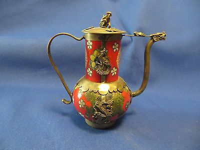 Very Old Chinese Teapot Stoup Red White Porcelain Monkey Dragon Frog Butterfly