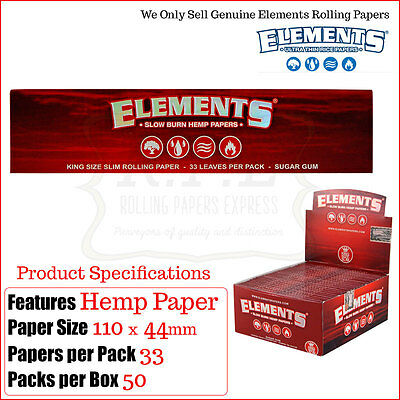 Elements Red Hemp King Size Slims Smoking Papers - 2/4/8/25 & Full Box