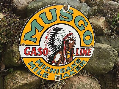 Musgo Michigan Porcelain Gas Pump Sign, A Vintage Oil Gasoline Company Lube