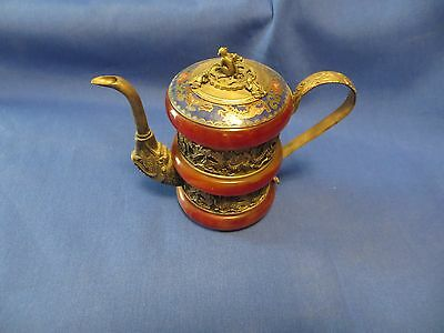 Old Chinese Yixing Teapot Red Jade Silver Enamel With Lid And Characters