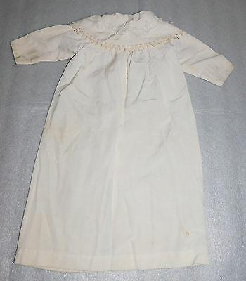 Vintage Baby Doll Long-Sleeve Cream Ivory White Dress Decorative Collar Defects