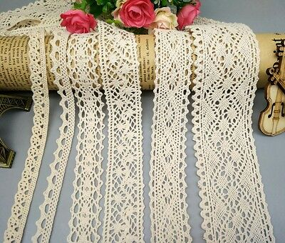 Vintage Cotton Crochet Lace Edge Trim Ribbon Embroidered Applique Sewing Craft