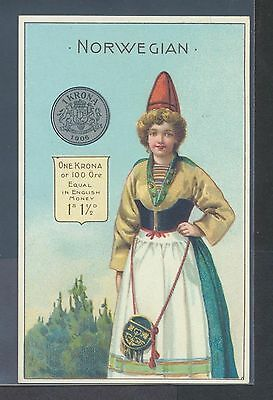 Norway Coin Currency Woman''s Costume Cooperative Societies'  Tea Trade Card