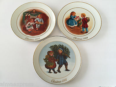 Lot of 3 AVON Christmas Memories Collector Plates, 1981, 1983 & 1984