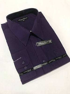 New BRUNO CAPELO Mens Dress Shirt Long Sleeves Cotton Blend Purple BCDS-111
