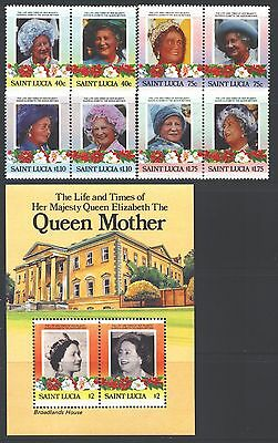 ST. LUCIA Sc782-88 SG832-39,MS840 MNH 1985 Queen Mother set of 4pairs+3MS SCV$9