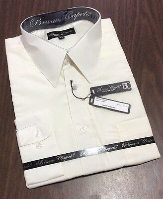 New BRUNO CAPELO Mens Dress Shirt Long Sleeves Cotton Blend IVORY BCDS-101