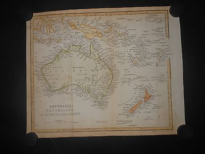 Australia New Zealand New Guinea Borneo Van Diemen Land 1850 Antique Map Hand Co