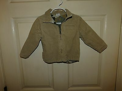 EUC Baby Boys Long Sleeve Brown Lined Corduroy Jacket Size 18 Months