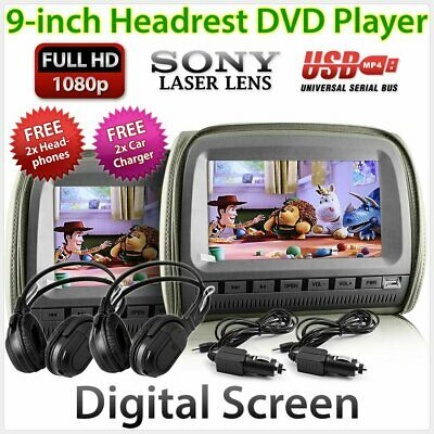 "Headrest 2 X 9"" In Car Monitor 2 DVD Players Games HD Pillow Headphone USB Pair"