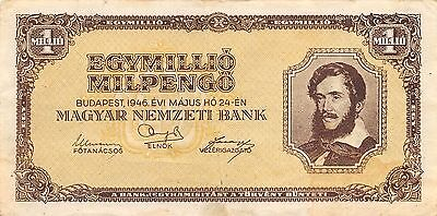 Hungary  1 Million  Milpengo  24.5.1946  P 128  Circulated Banknote GH14