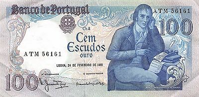 Portugal 100 Escudos  24.2.1981  Series ATM  circulated Banknote BjW9
