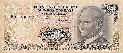 Turkey 50 lira 1975 P 188  Prefix  E   circulated Banknote , NS 1