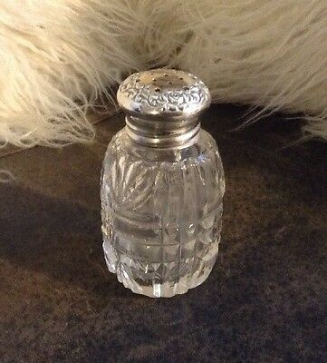Antique Sterling Silver And Glass Dresser Jar - Powder Shaker - Hallmarked