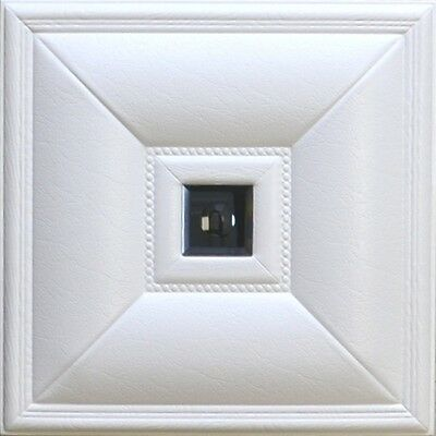 3D glue on PU Leather wall panel (#LT-11 White/Smoked Mirror) - pack of 12 tiles