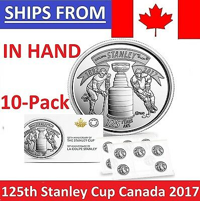 ➡ IN HAND SEALED NEW 10-Pack 2017 Canada 25 Cents 125th Anni Stanley Cup Quarter