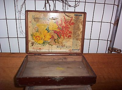 ANTIQUE DOVETAILED WOOD ADVERTISING MANDEVILLE & KING CO FLOWER SEED Display BOX