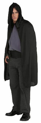 "Black Hooded 45"" Satin Polyester Short Cape Adult Halloween Costume Accessory"