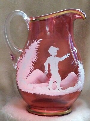 Mary Gregory Cranberry Glass Pitcher