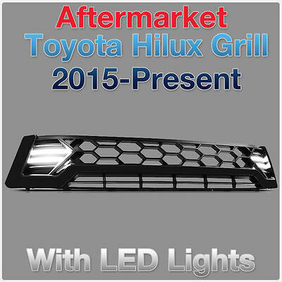 Quad Day Running Guide Light LED Black Grille Grill For Toyota Hilux 2015 2016