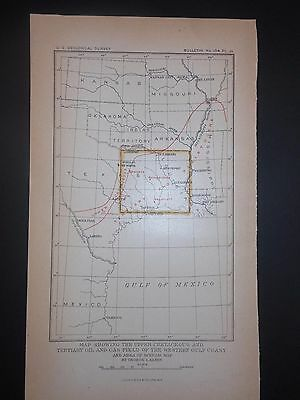 Upper Cretaceous & Tertiary Oil & Gas Fields Texas Gulf Coast 1900 Map H Color